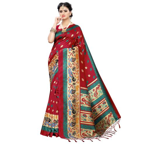 Appealing Maroon Colored Festive Wear Printed Art Silk Saree