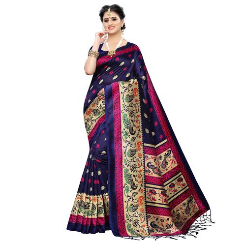 Capricious Navy Blue Colored Festive Wear Printed Art Silk Saree