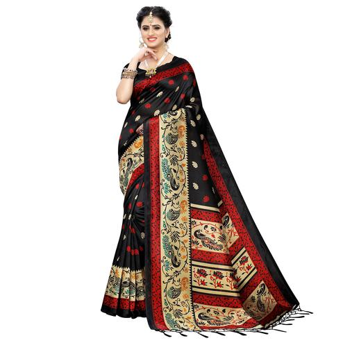 Entrancing Black Colored Festive Wear Printed Art Silk Saree
