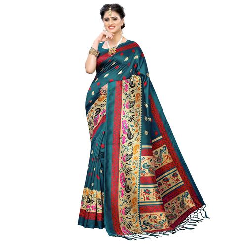 Groovy Dark Rama Blue Colored Festive Wear Printed Art Silk Saree