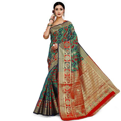 Adorable Green Colored Festive Wear Woven Cotton Silk Saree