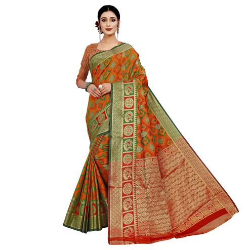 Glorious Orange Colored Festive Wear Woven Cotton Silk Saree