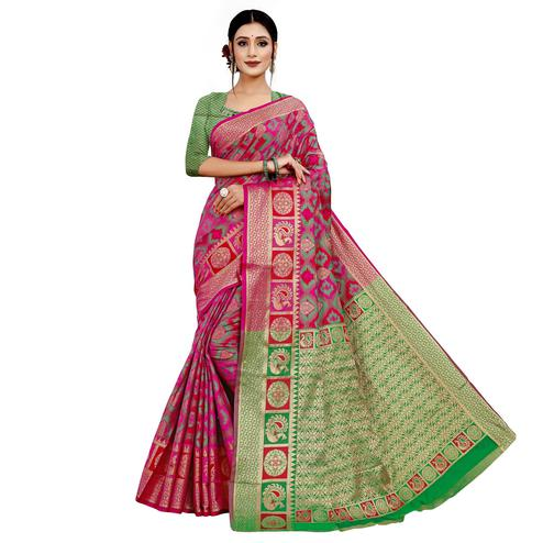 Beautiful Pink Colored Festive Wear Woven Cotton Silk Saree