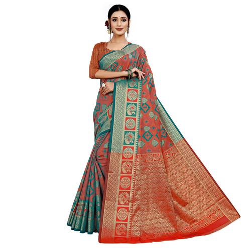 Graceful Rust Orange Colored Festive Wear Woven Cotton Silk Saree