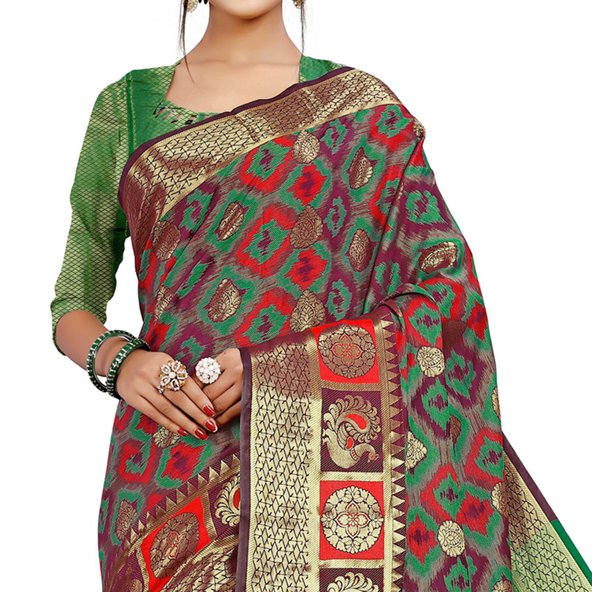 Blooming Wine Colored Festive Wear Woven Cotton Silk Saree