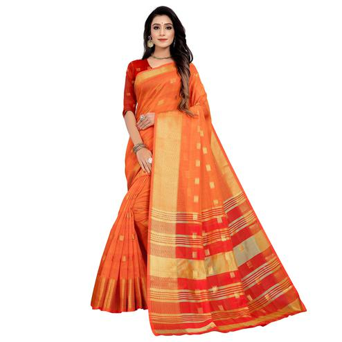 Delightful Orange Colored Festive Wear Woven Cotton Saree