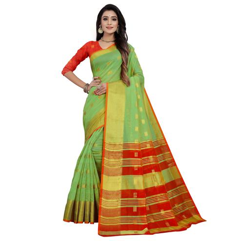Engrossing Green Colored Festive Wear Woven Cotton Saree