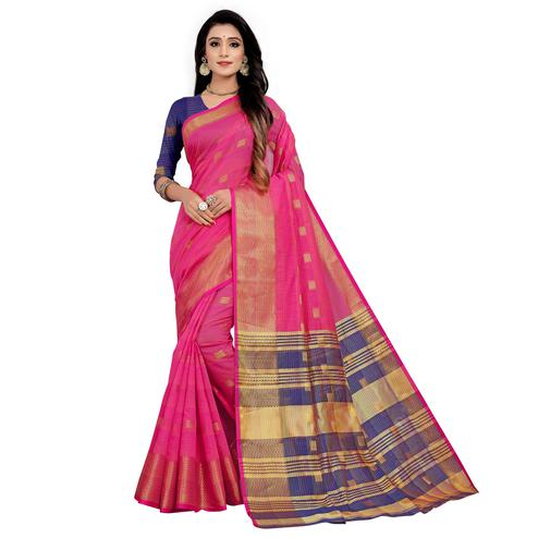 Captivating Pink Colored Festive Wear Woven Cotton Saree