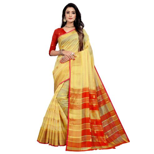 Innovative Yellow Colored Festive Wear Woven Cotton Saree