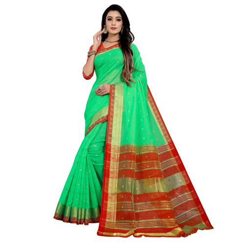 Impressive Green Colored Festive Wear Woven Cotton Saree