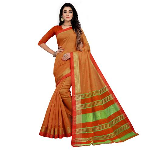 Mesmerising Orange Colored Festive Wear Woven Cotton Saree