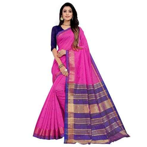 Pleasance Pink Colored Festive Wear Woven Cotton Saree
