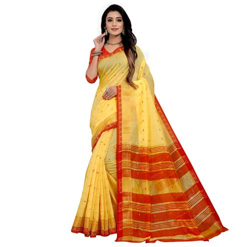 Breathtaking Yellow Colored Festive Wear Woven Cotton Saree