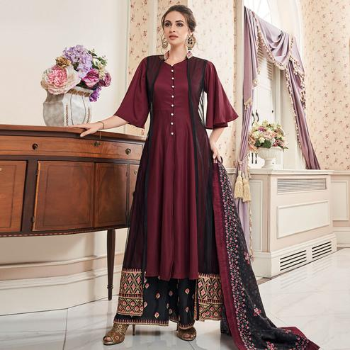 Elegant Maroon Colored Partywear Embroidered Cotton Palazzo Suit With Long Jacket