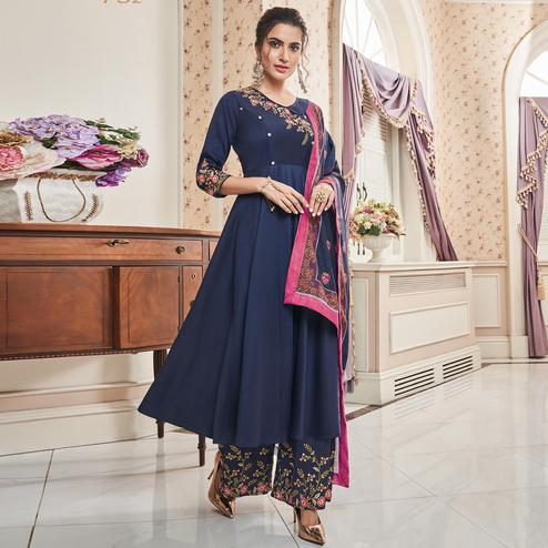 Radiant Navy Blue Colored Partywear Embroidered Cotton Palazzo Suit