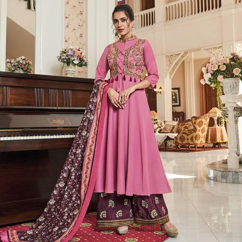 Opulent Pink Colored Partywear Embroidered Cotton Palazzo Suit