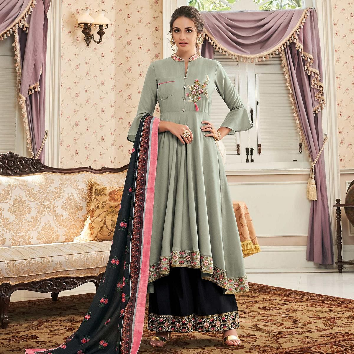 Energetic Grey Colored Partywear Embroidered Cotton Palazzo Suit