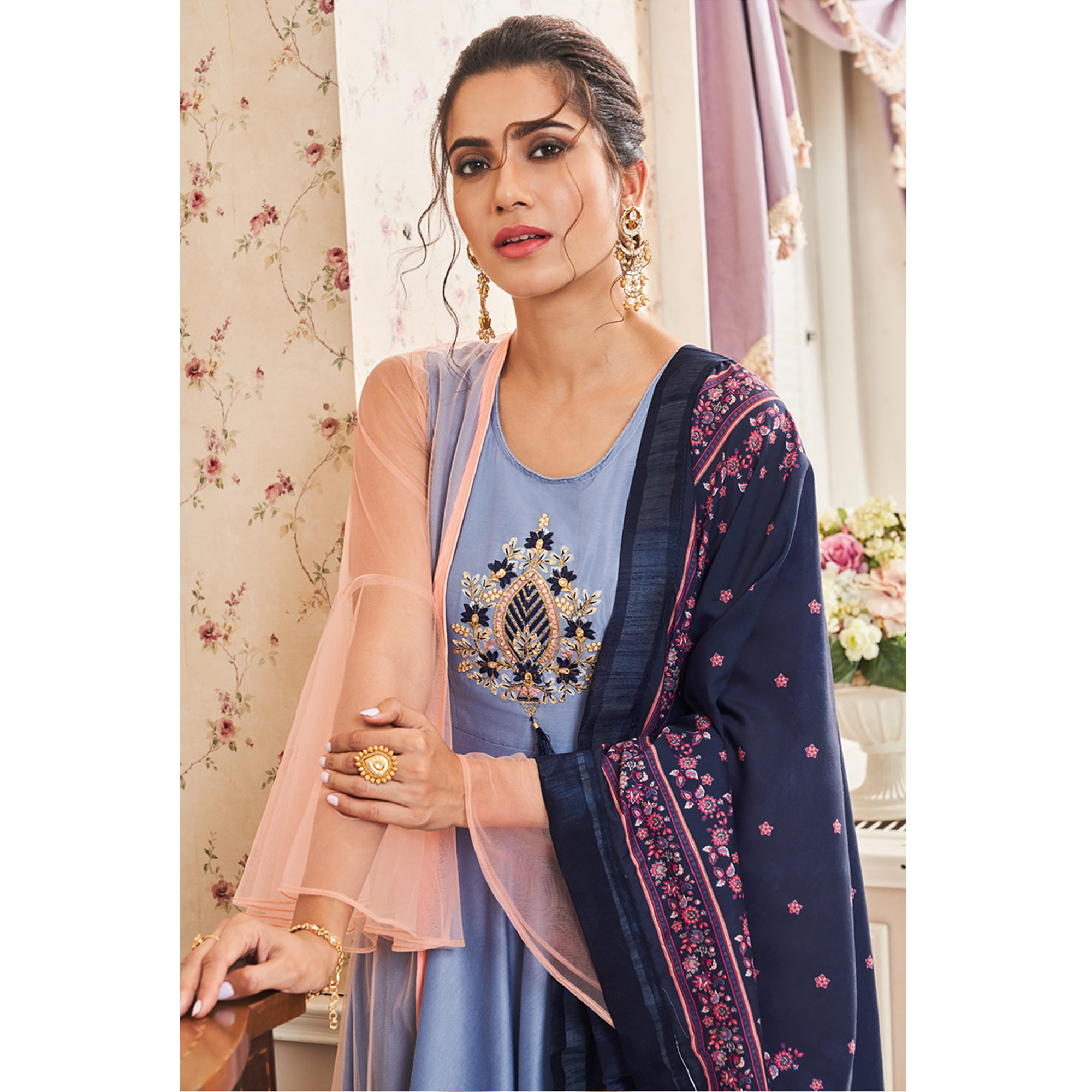 Glowing Blue Colored Partywear Embroidered Cotton Palazzo Suit With Long Jacket