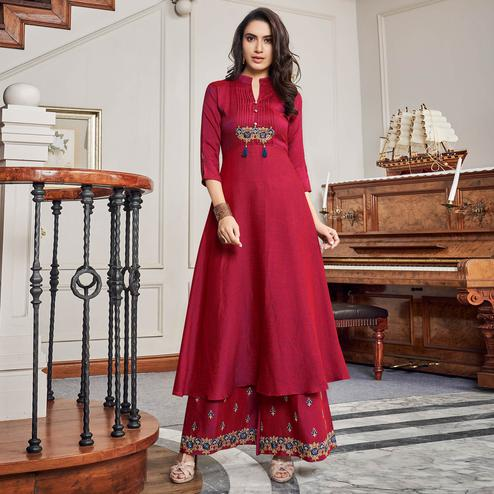 Ethnic Dark Pink Colored Party Wear Embroidered Cotton Kurti-Palazzo Set