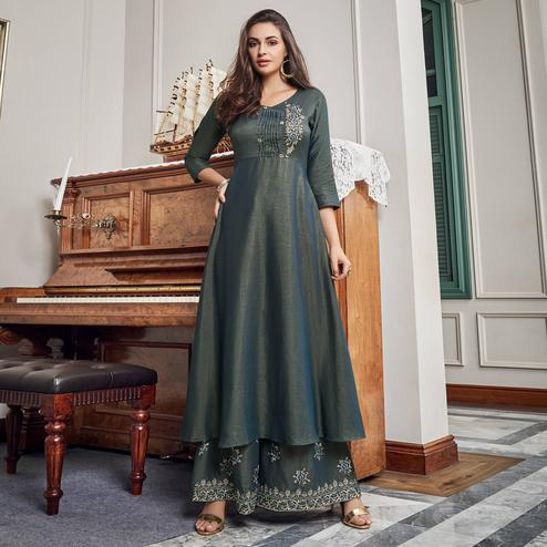 Ravishing Grey Colored Party Wear Embroidered Cotton Kurti-Palazzo Set