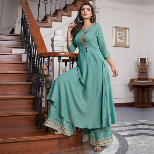 Staring Light Aqua Green Colored Party Wear Embroidered Cotton Kurti-Palazzo Set
