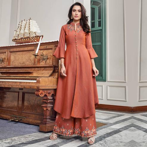 Dazzling Peach Colored Party Wear Embroidered Cotton Kurti-Palazzo Set