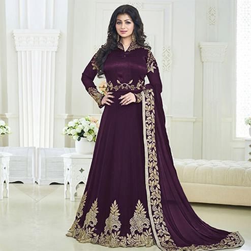 Purple Georgette Anarkali Suit