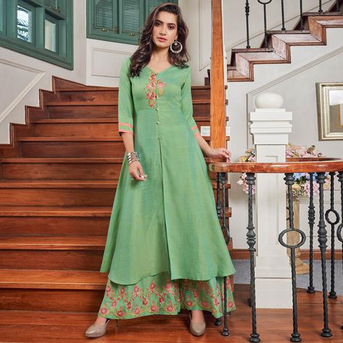 Surpassing Green Colored Party Wear Embroidered Cotton Kurti-Palazzo Set