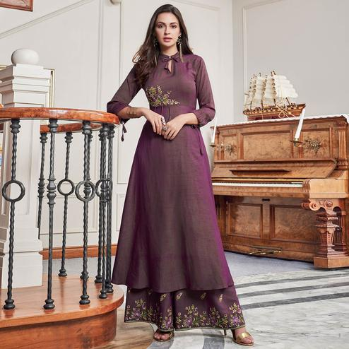 Flaunt Purple Colored Party Wear Embroidered Cotton Kurti-Palazzo Set