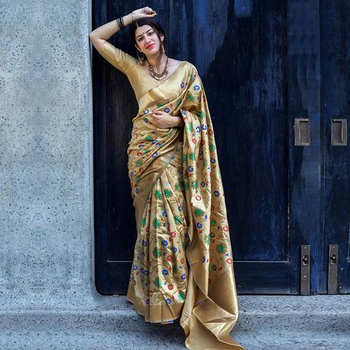 Ideal Beige Colored Festive Wear Woven Silk Saree
