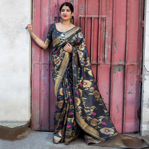 Imposing Dark Grey Colored Festive Wear Woven Silk Saree