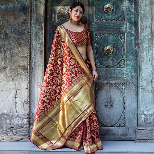 Glowing Maroon Colored Festive Wear Woven Silk Saree