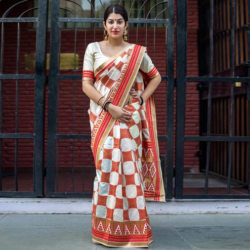 Unique Off White-Red Colored Festive Wear Woven Silk Saree