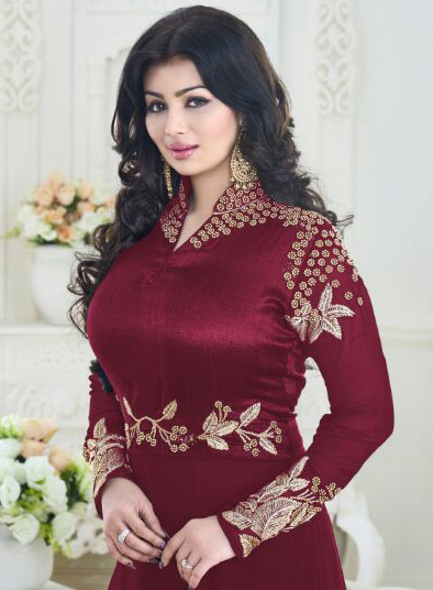 Maroon Embroidered Georgette Anarkali suit