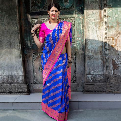 Radiant Blue Colored Festive Wear Woven Silk Saree