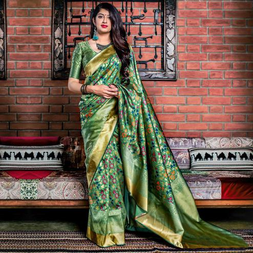 Excellent Green Colored Festive Wear Banarasi Silk Saree