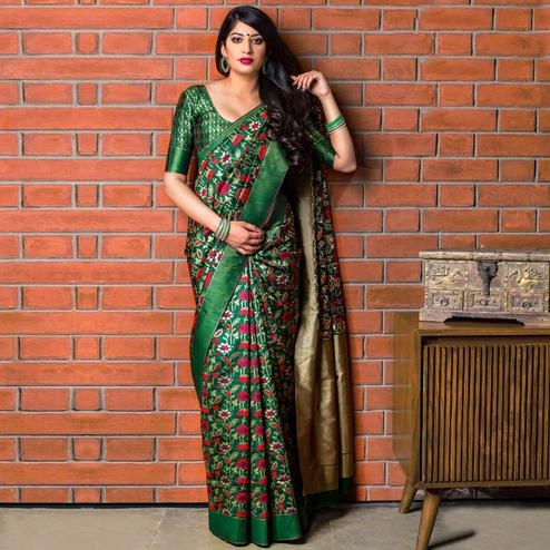Preferable Green Colored Festive Wear Banarasi Silk Saree