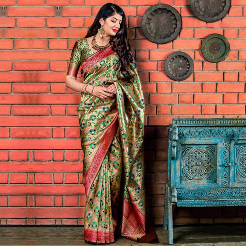 Marvellous Golden-Green Colored Festive Wear Banarasi Silk Saree