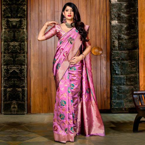 Pretty Pink Colored Festive Wear Banarasi Silk Saree