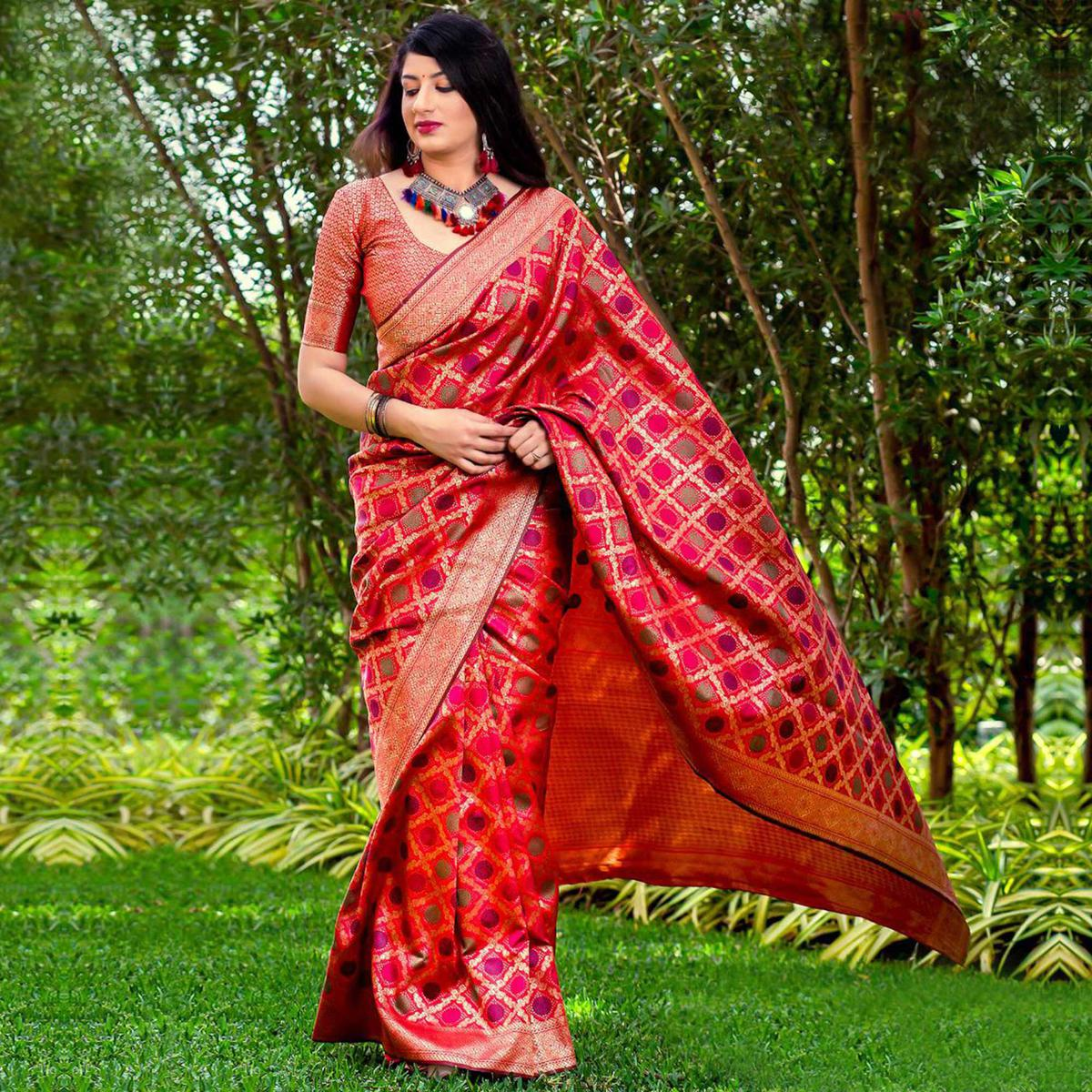 Alluring Red Colored Festive Wear Banarasi Silk Saree