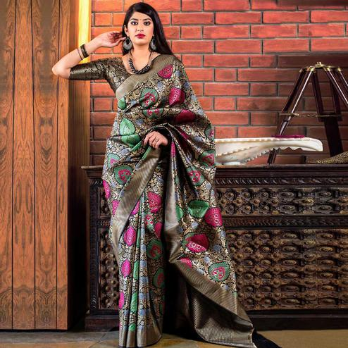 Flaunt Black Colored Festive Wear Banarasi Silk Saree
