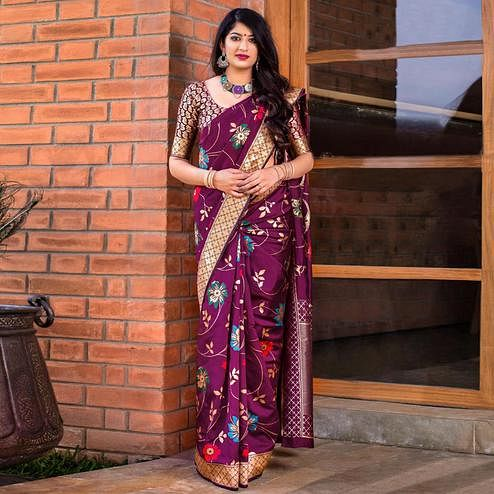 Stunning Wine Colored Festive Wear Banarasi Silk Saree
