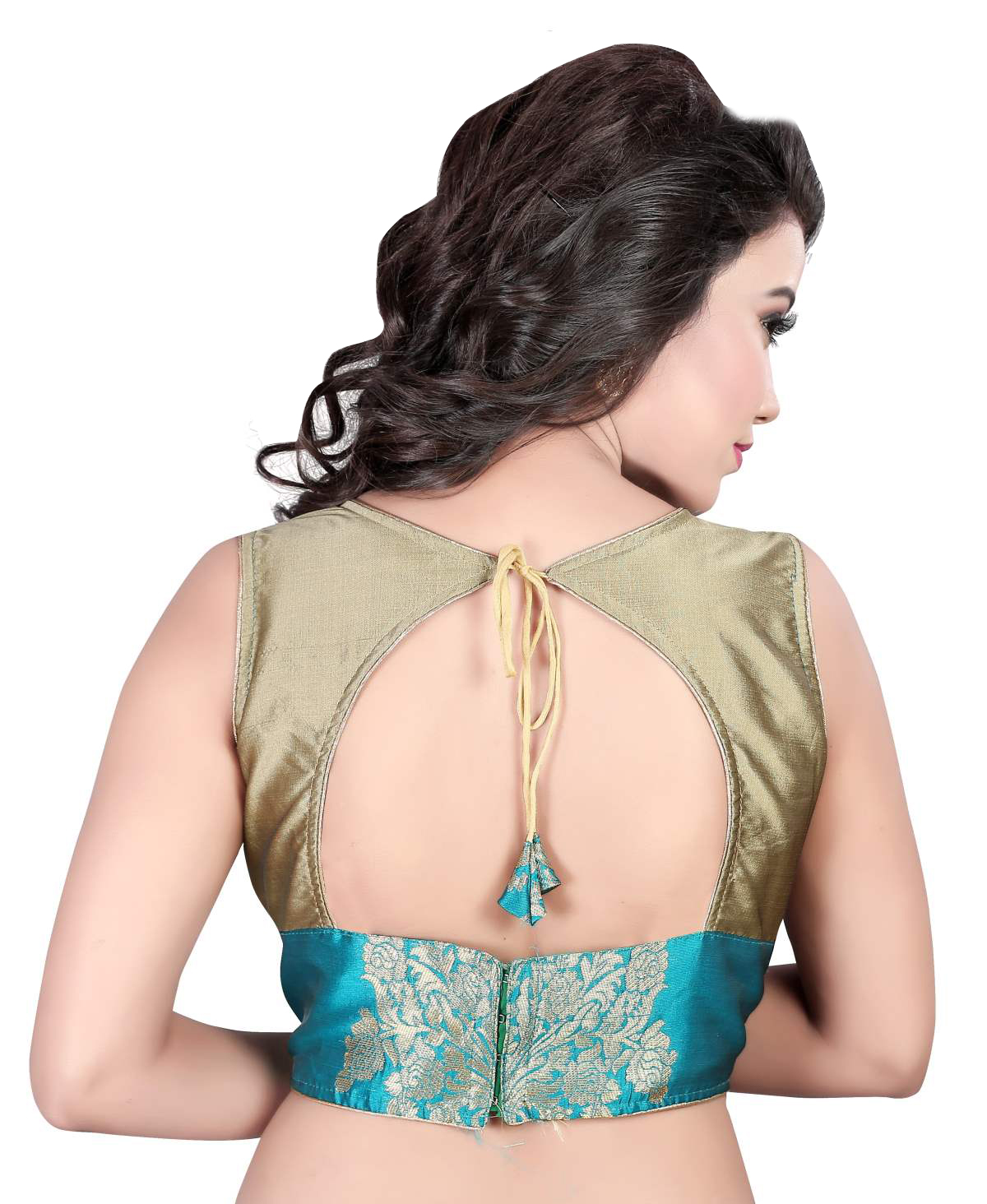 Turquoise Embroidered Work Jacquard Blouse