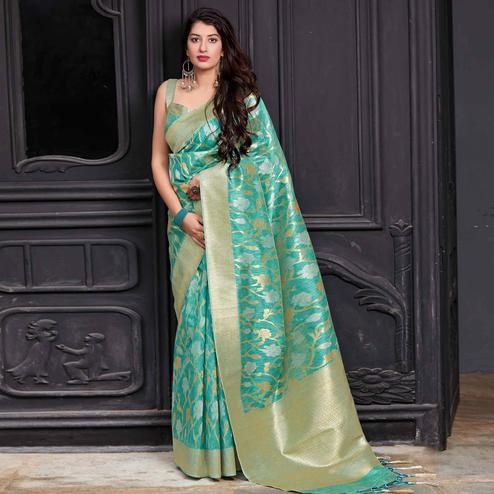 Pleasance Aqua Green Colored Festive Wear Woven Banarasi Patola Silk Saree