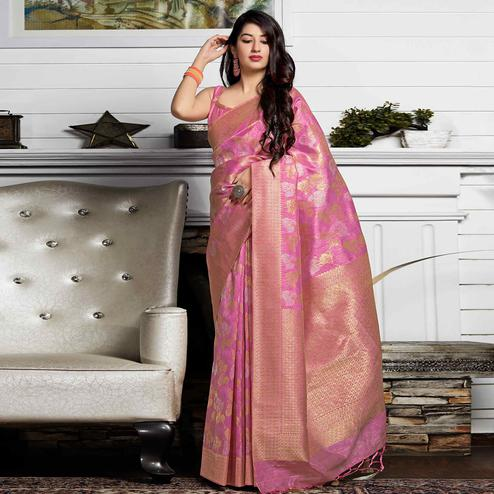 Surpassing Pink Colored Festive Wear Woven Banarasi Patola Silk Saree