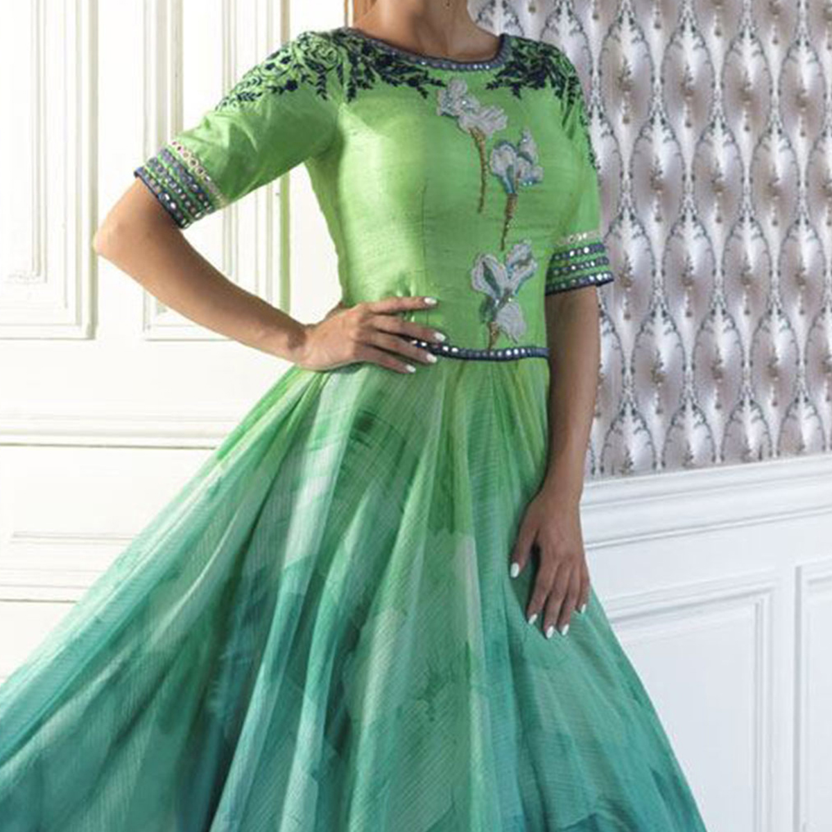Turquoise Green Anarkali Style Designer Suit