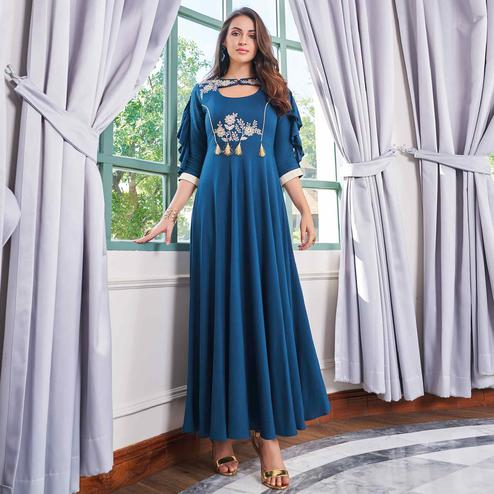 Preferable Teal Blue Colored Party Wear Embroidered Rayon Long Kurti