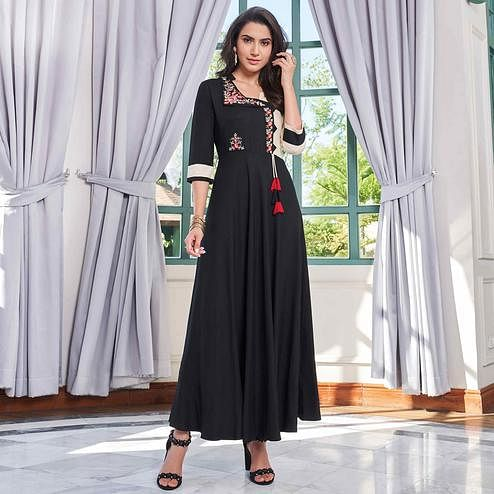 Marvellous Black Colored Party Wear Embroidered Rayon Long Kurti