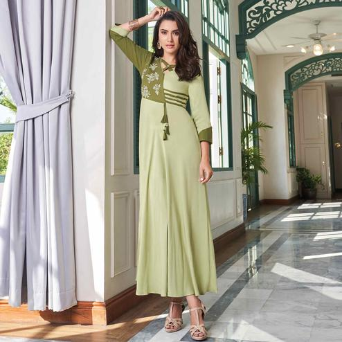 Magnetic Light Olive Green Colored Party Wear Embroidered Rayon Long Kurti