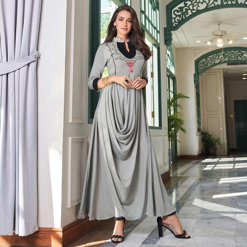 Ideal Grey Colored Party Wear Embroidered Rayon Long Kurti